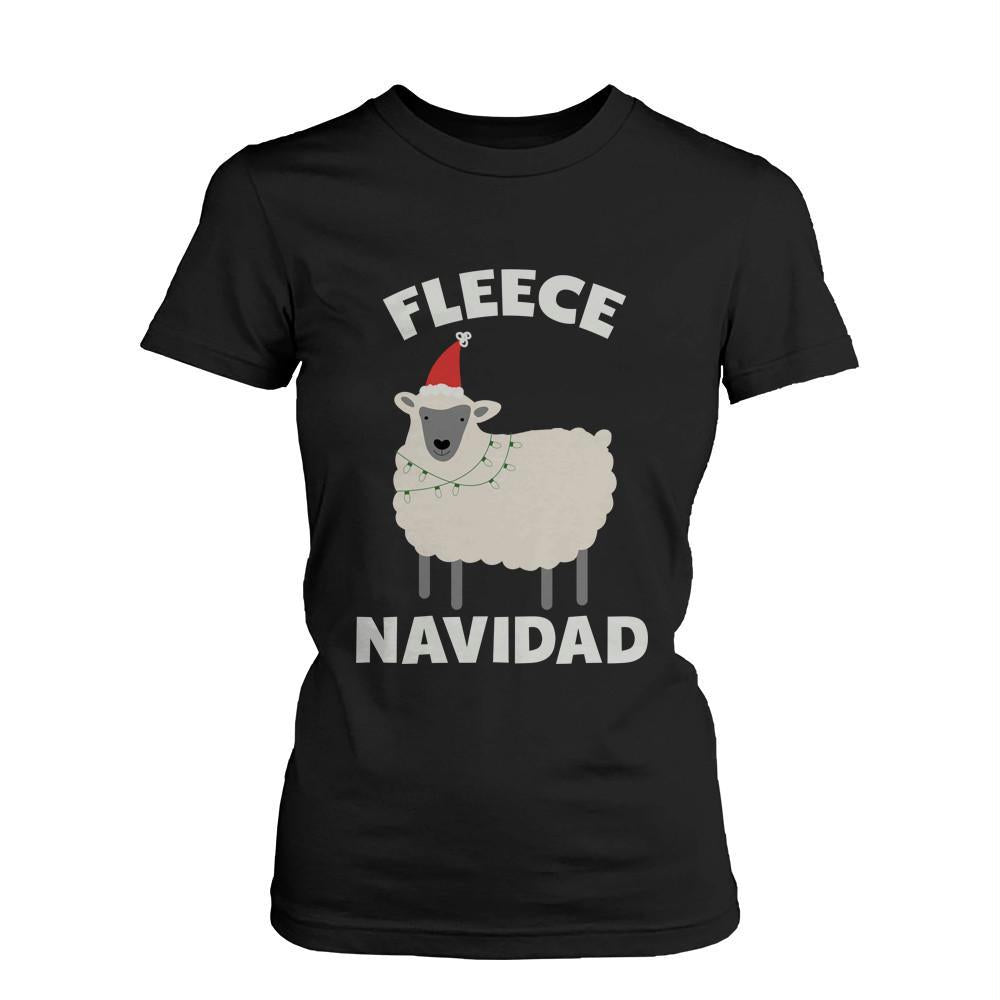 Women's Funny Holiday Graphic Tees - Fleece Navidad Black Cotton T-shirt