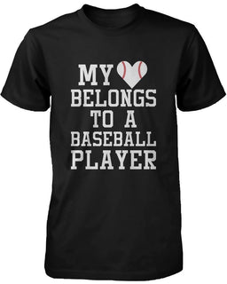 Funny Graphic Womens Black T-shirt - My Heart Belong to A Baseball Player
