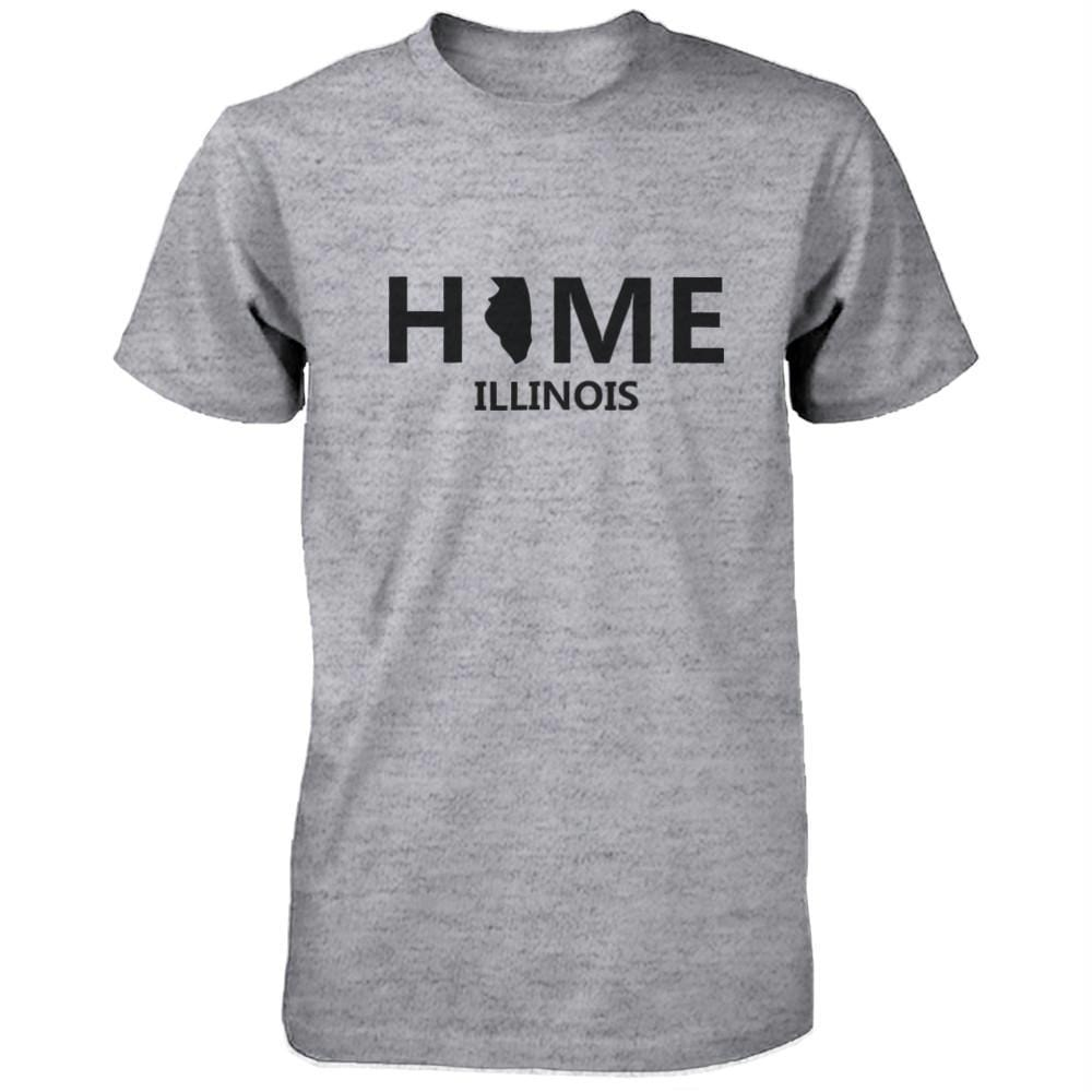Home IL State Grey Men's T-Shirt US Illinois Hometown Cotton Tee
