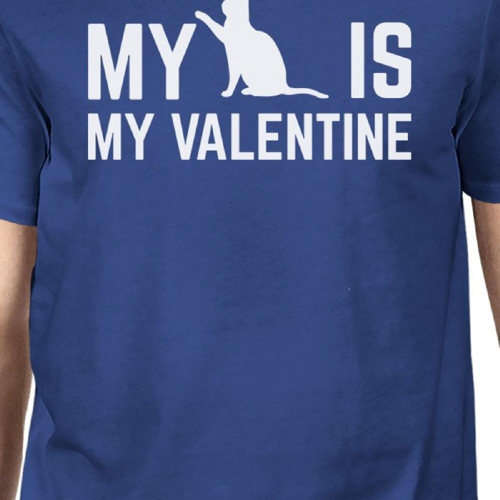 My Cat My Valentine Men's Royal Blue T-shirt Cute Valentine's Gifts