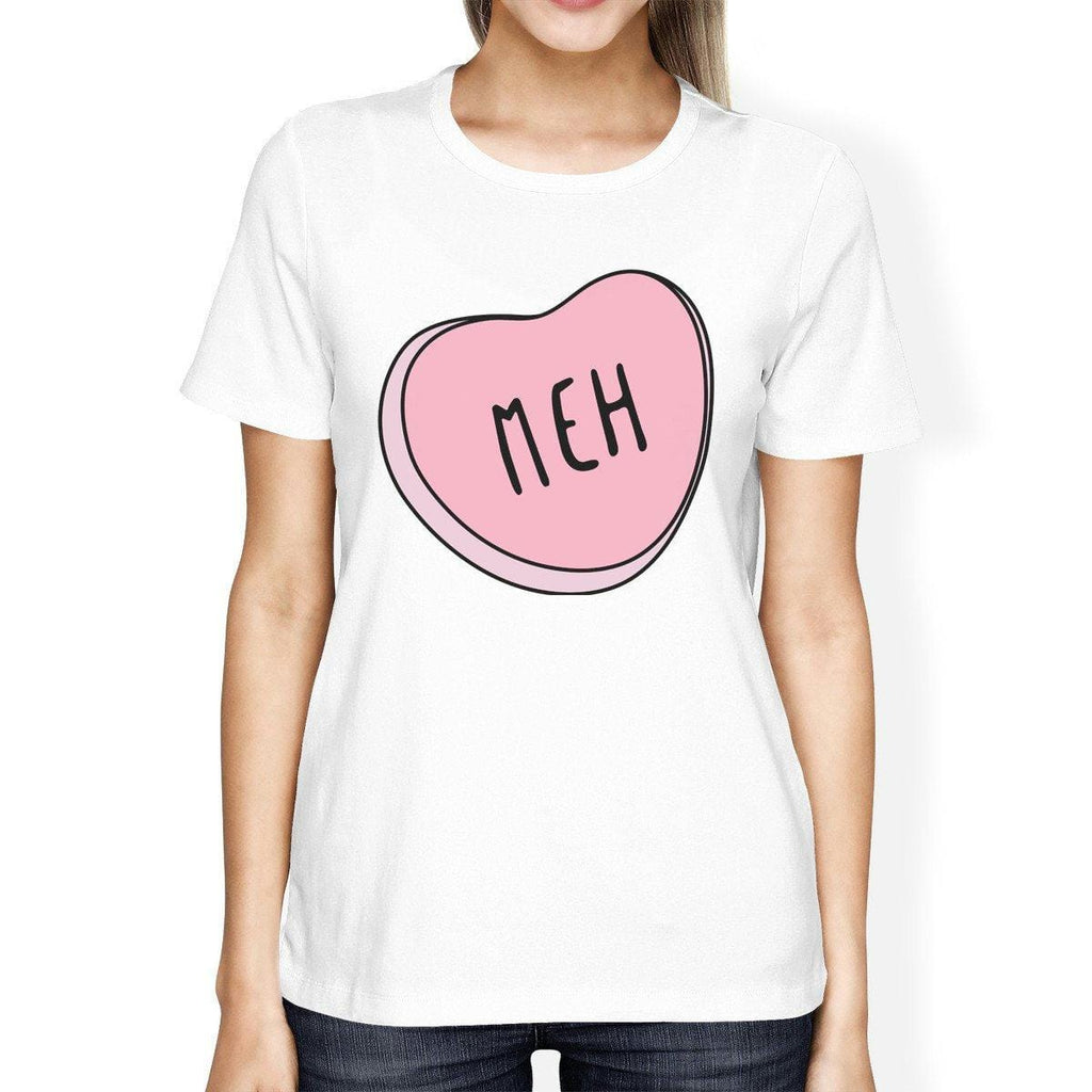 Meh Womens White T-shirt Trendy Graphic Birthday Gift Ideas For Her