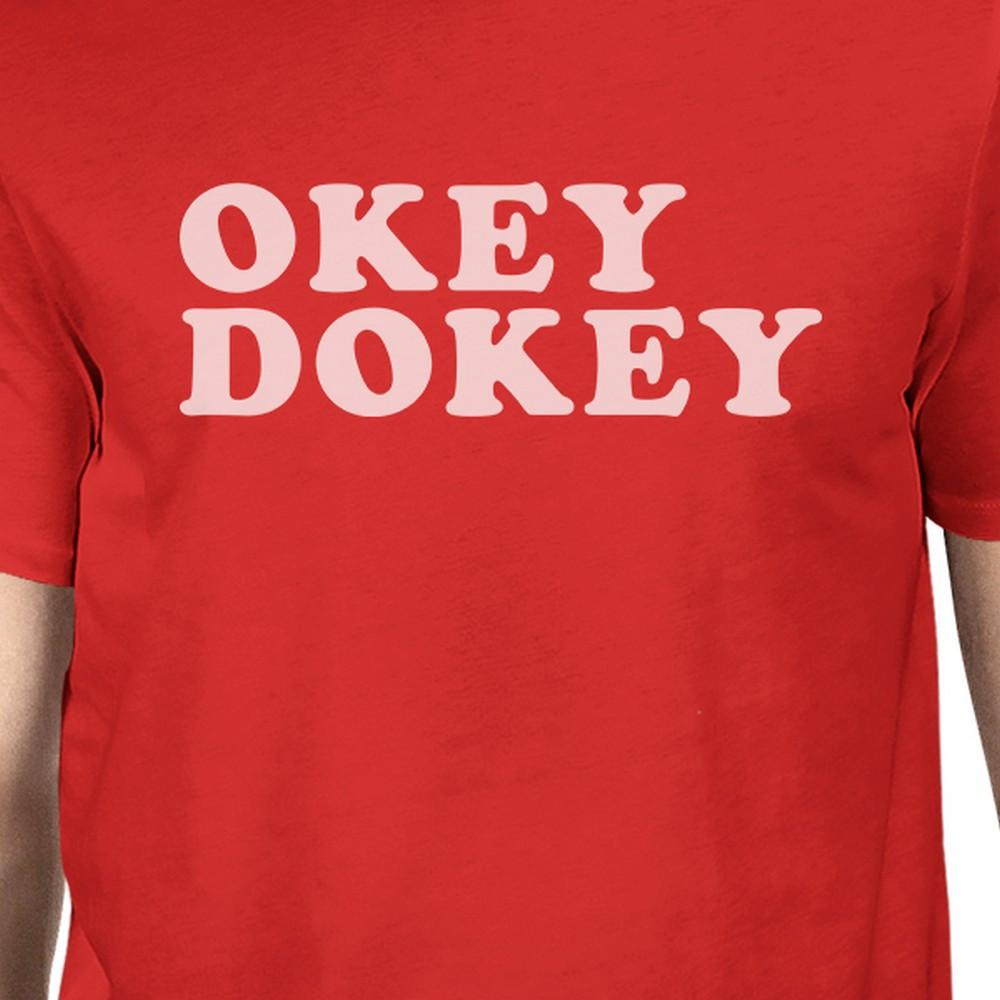 Okey Dokey Men's Red Short Sleeve Shirt Funny Letter Printed Top