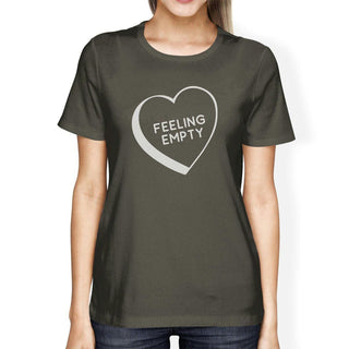 Feeling Empty Heart Dark Grey Graphic Tee Cute Design T Shirt