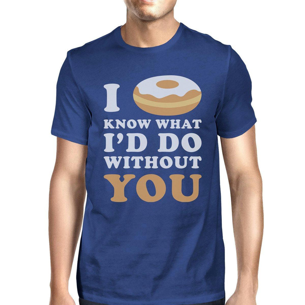 I Doughnut Know Men's Blue Round Neck T-Shirt Trendy Graphic Top