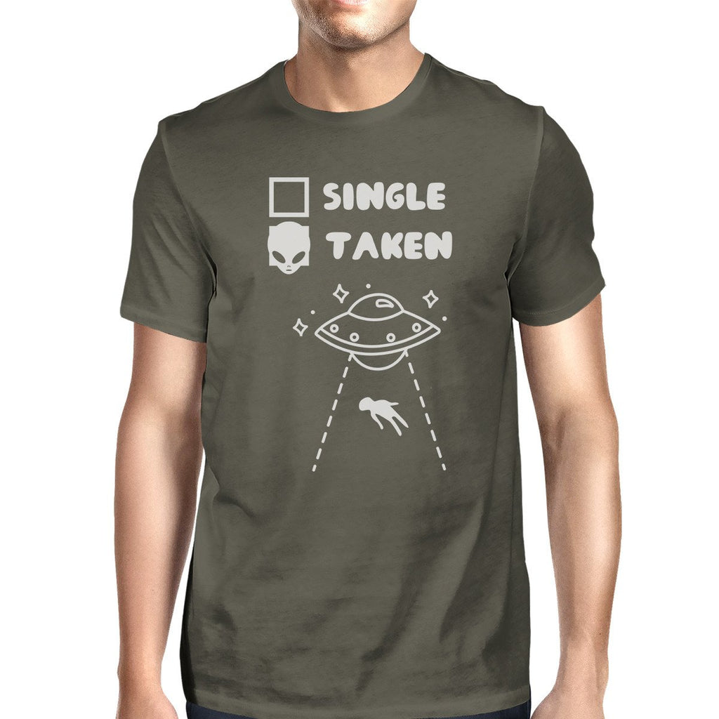 Single Taken Alien Mens Dark Grey Funny Graphic Witty Quote T Shirt