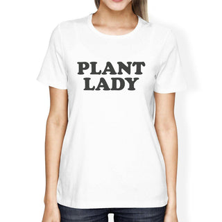 Inc Plant Lady Women's White Short Sleeve Cotton Tee Unique Design