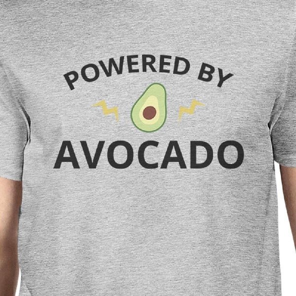 Powered By Avocado Mens Gray Roundneck Cotton Graphic Top