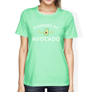 Powered By Avocado Mint Crew Neck Cotton Graphic T Shirt For Women