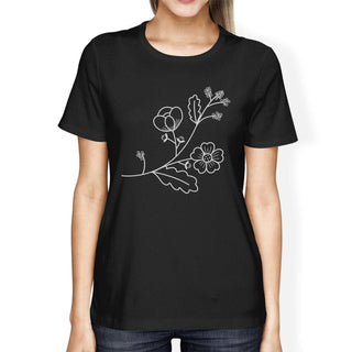 Flower Women's Black Cotton T Shirt Unique Graphic Tee Gift Ideas