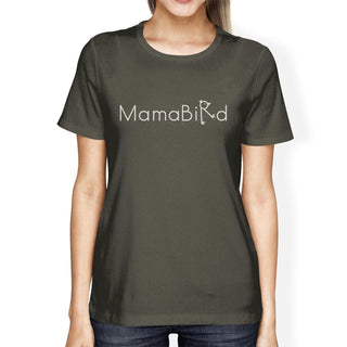 MamaBird Women's Dark Grey Cool Summer T Shirt Cute Design Top