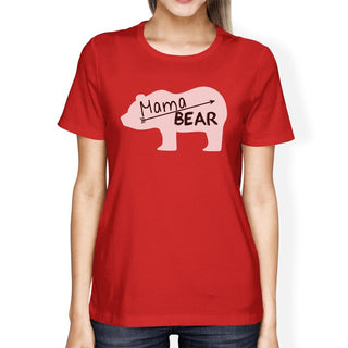 Mama Bear Womens Red Short Sleeve Top Unique Design Gifts For Moms