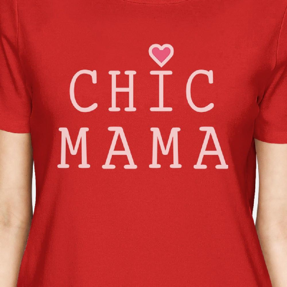 Chic Mama Womens Red Short Sleeve Top Unique Graphic Tee Crew Neck