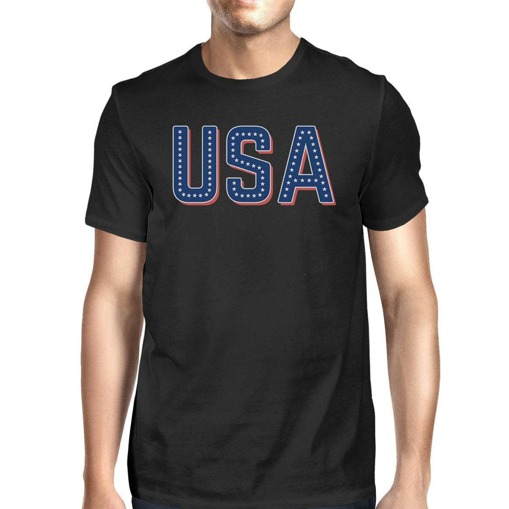 USA With Stars Mens Black Cotton Tee Unique Independence Day Top