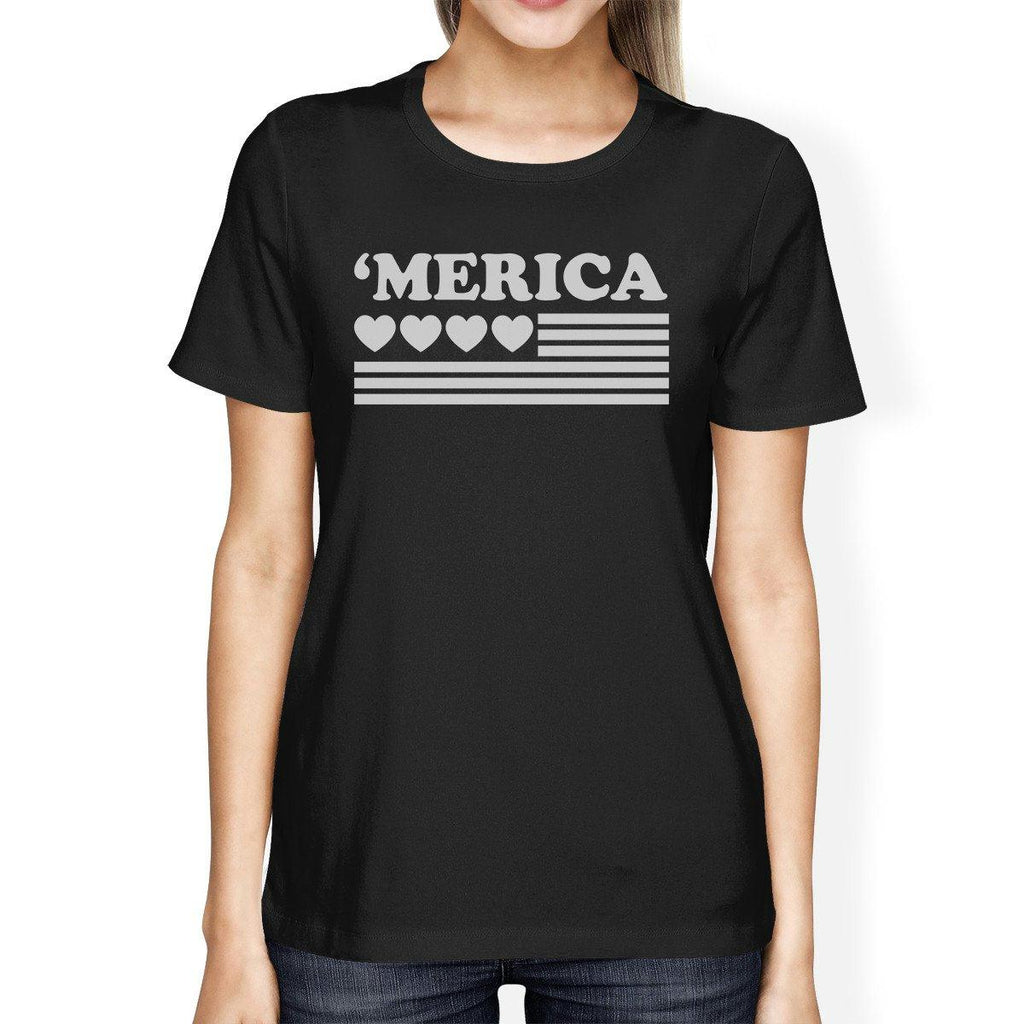 Heart American Flag Womens Cute Graphic Shirt For Independence Day