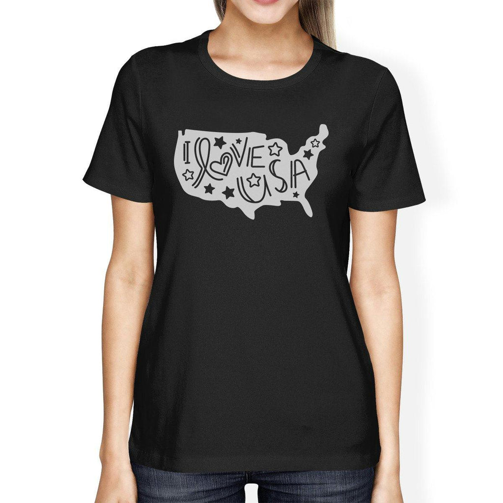 I Love USA Map Unique Design Womens Graphic T-Shirt For 4th Of July