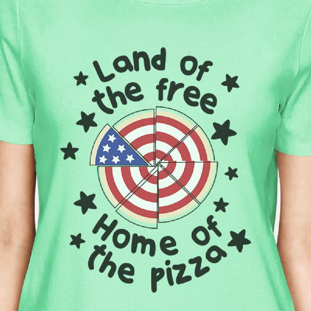 Land Of The Free Cute Womens Mint Short Sleeve Tee For 4th Of July