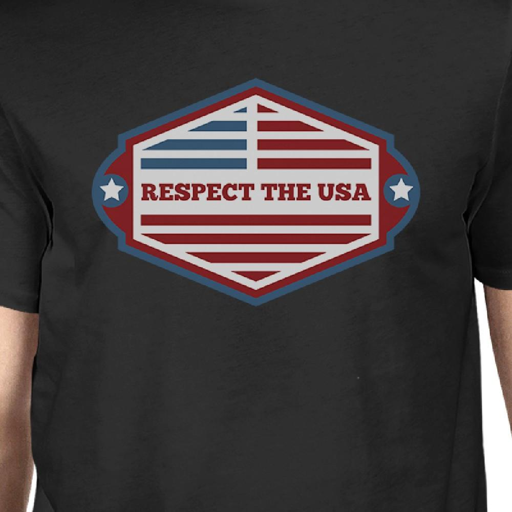 Respect The USA American Flag Shirt Mens Black Short Sleeve Tshirt