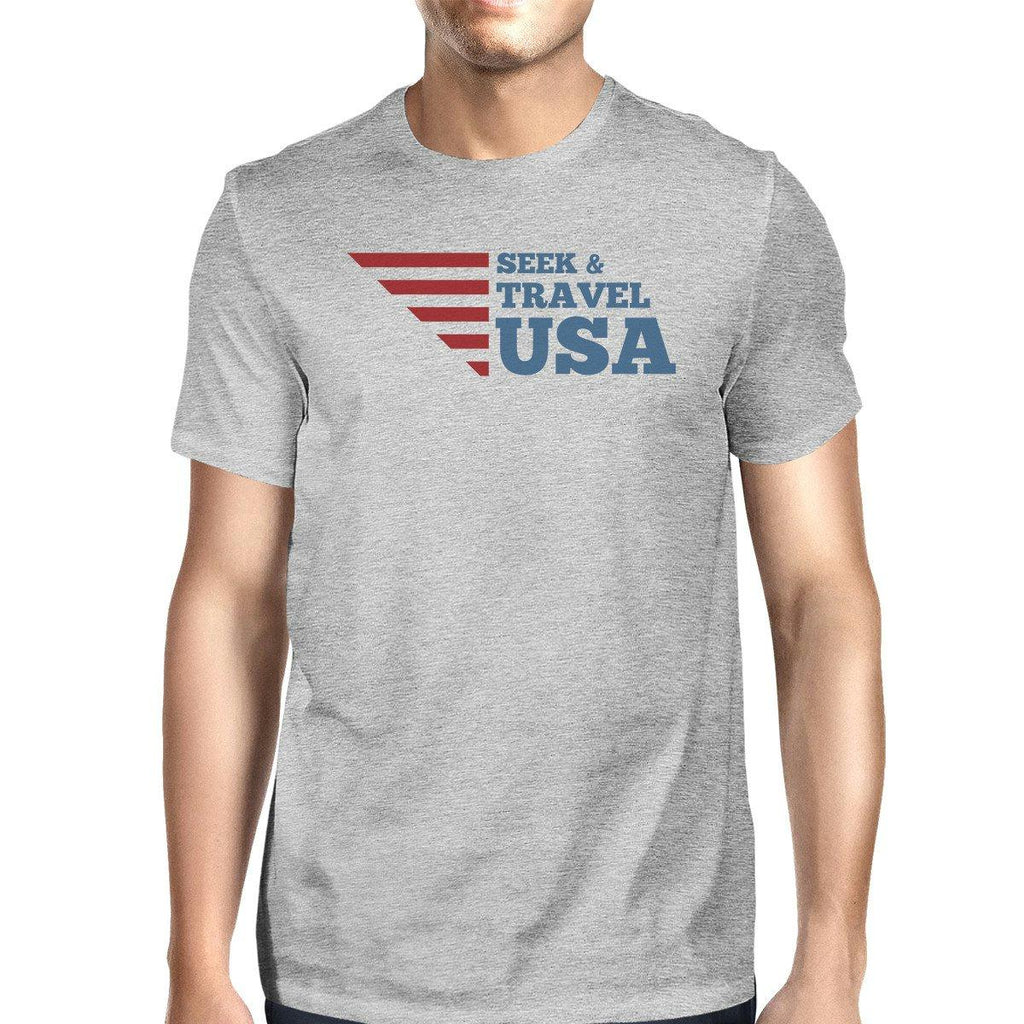 Seek & Travel USA American Flag Shirt Mens Gray Cotton Graphic Tee