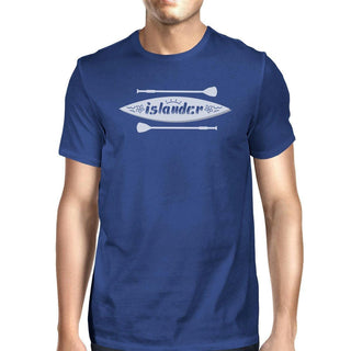 Islander Paddle Board Design Mens Blue Tee Crew Neck Summer Tee