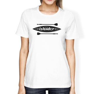 Islander Paddle Board Design Womens White Tee Crew Neck Summer Tee