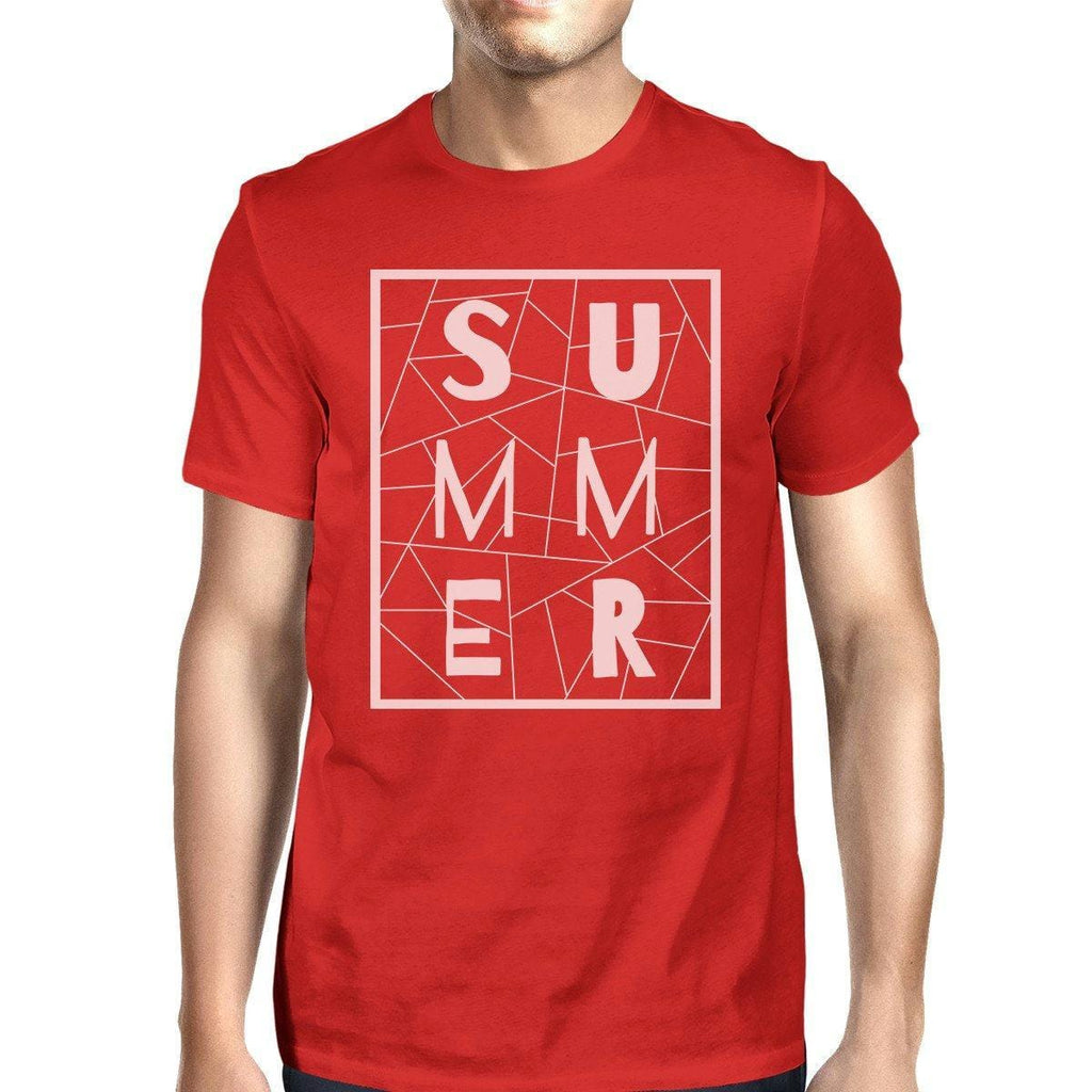 Summer Geometric Mens Red Tshirt Trendy Design Cotton Graphic Tee