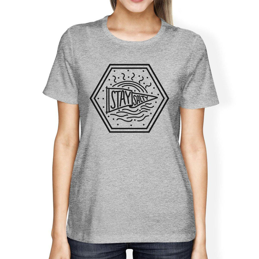 Stay Salty Womens Gray Short Sleeve Tee Round Neck Graphic T-Shirt