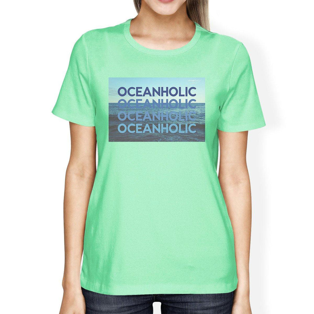 Oceanholic Womens Mint Graphic Lightweight Tropical Design Tshirt