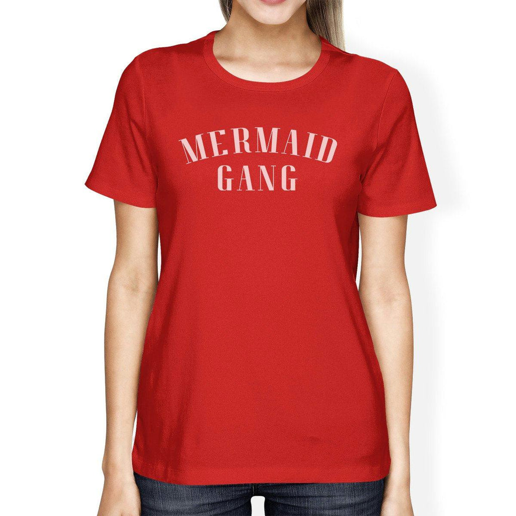Mermaid Gang Red Womens Lightweight Cotton Graphic Tee Round Neck