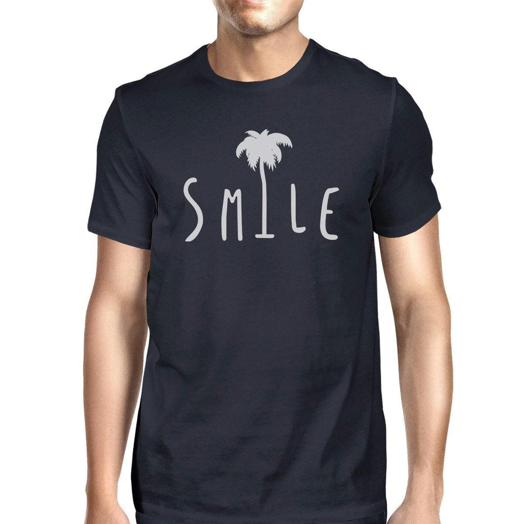 Smile Palm Tree Mens Navy Cotton Round Neck Tee Outfit For Summer