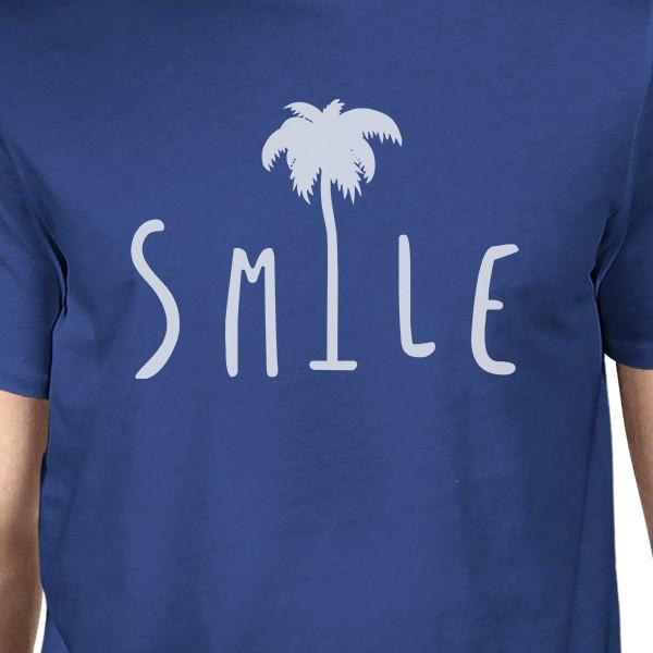 Smile Palm Tree Royal Blue Mens Lightweight Summer Graphic Shirt