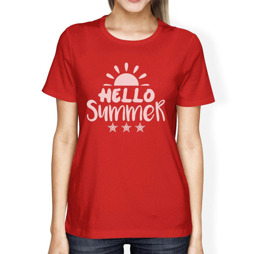 Hello Summer Sun Womens Red Shirt