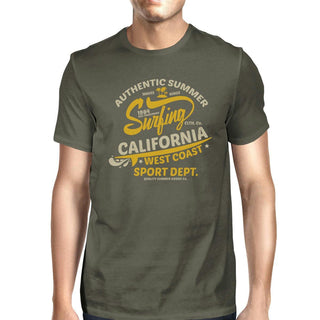 Authentic Summer Surfing California Mens Dark Grey Shirt