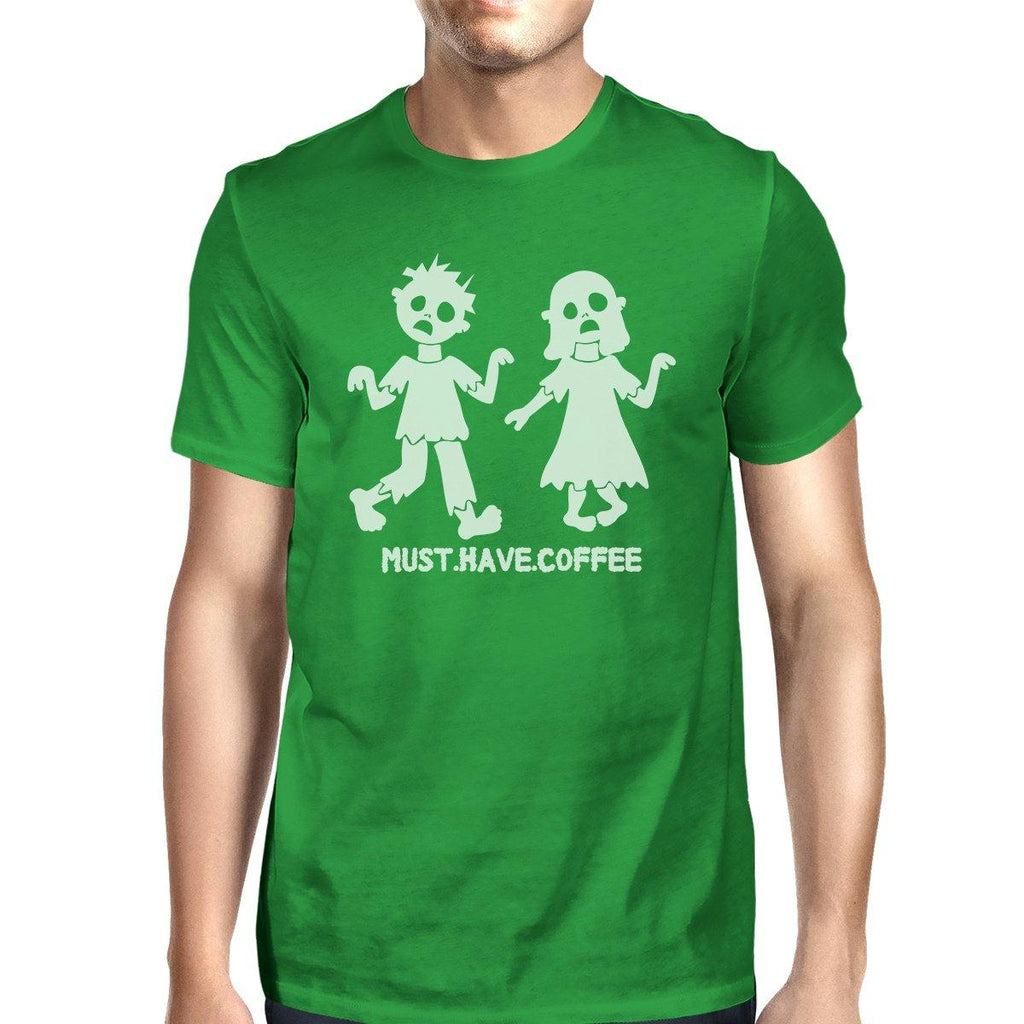 Must Have Coffee Zombies Mens Green Shirt