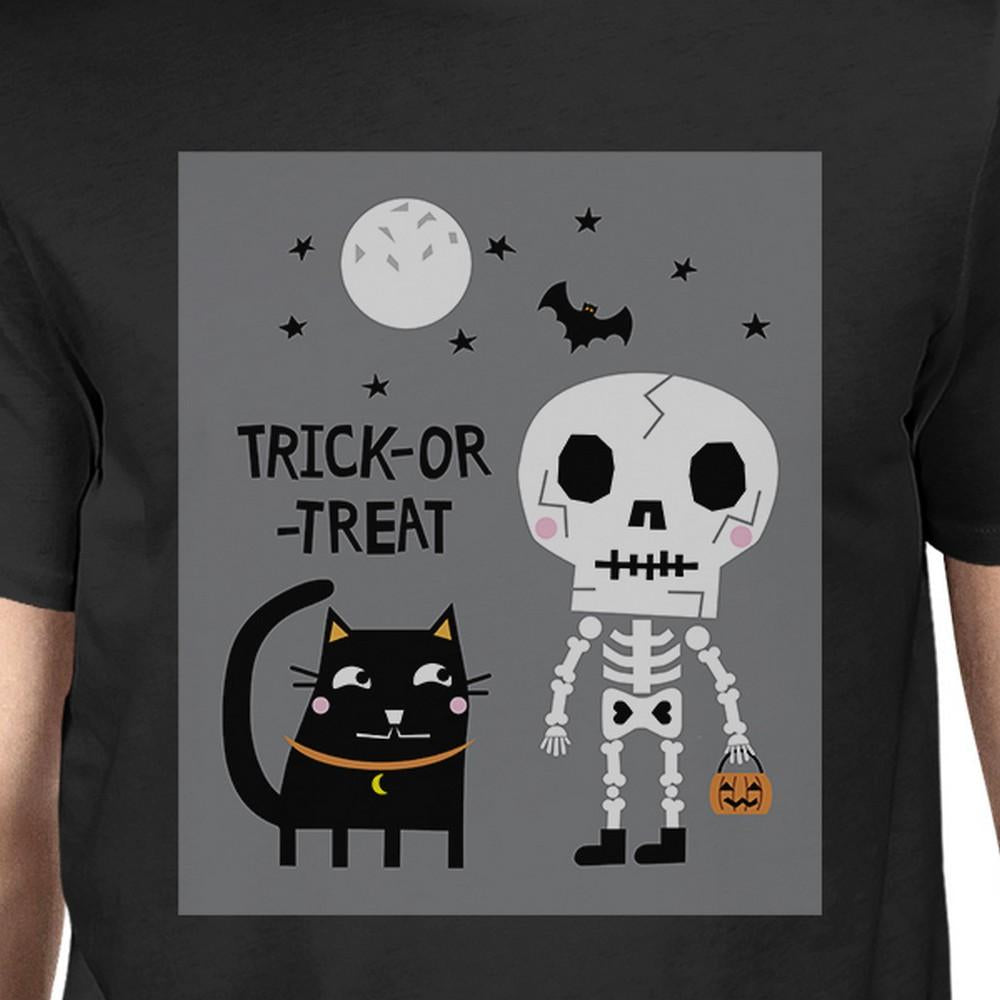 Trick-Or-Treat Skeleton Black Cat Mens Black Shirt