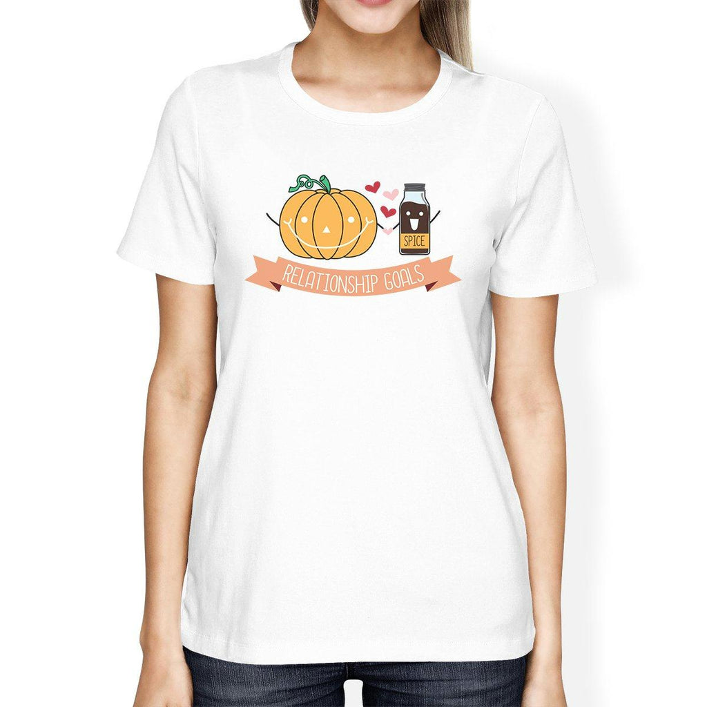 Pumpkin Spice Relationship Goals Womens White Shirt
