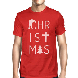 Christmas Letters Mens Red Shirt