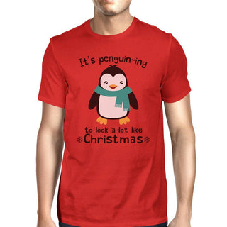 It's Penguin-Ing To Look A Lot Like Christmas Mens Red Shirt