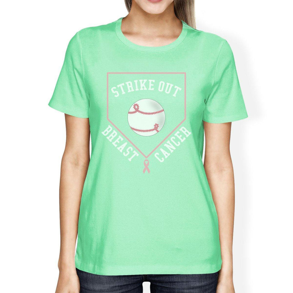 Strike Out Breast Cancer Baseball Womens Mint Shirt