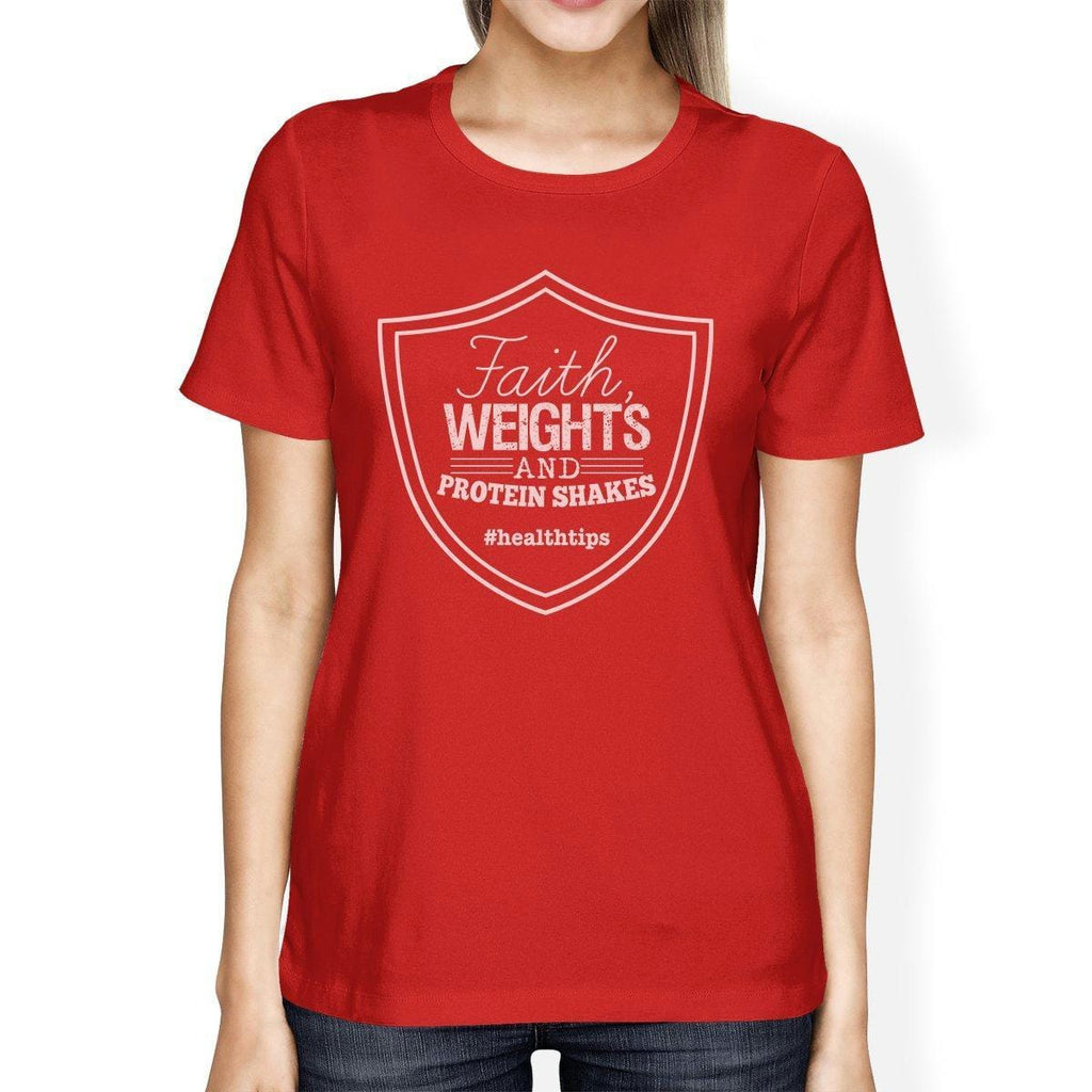 Faith Weights Womens Work Out Theme T-Shirt Humorous Fitness Gift