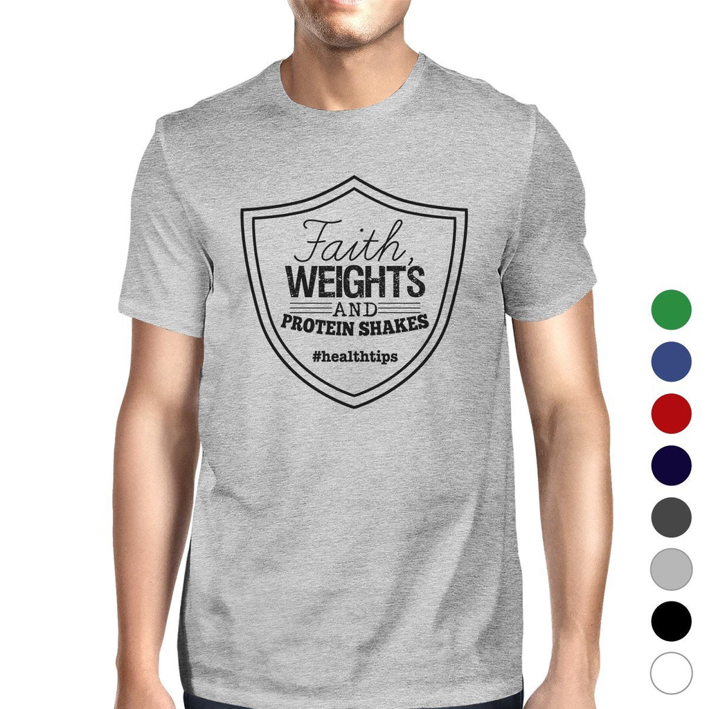 Faith Weights Mens Cool Cotton Round Neck T-Shirt For Exercise Gift
