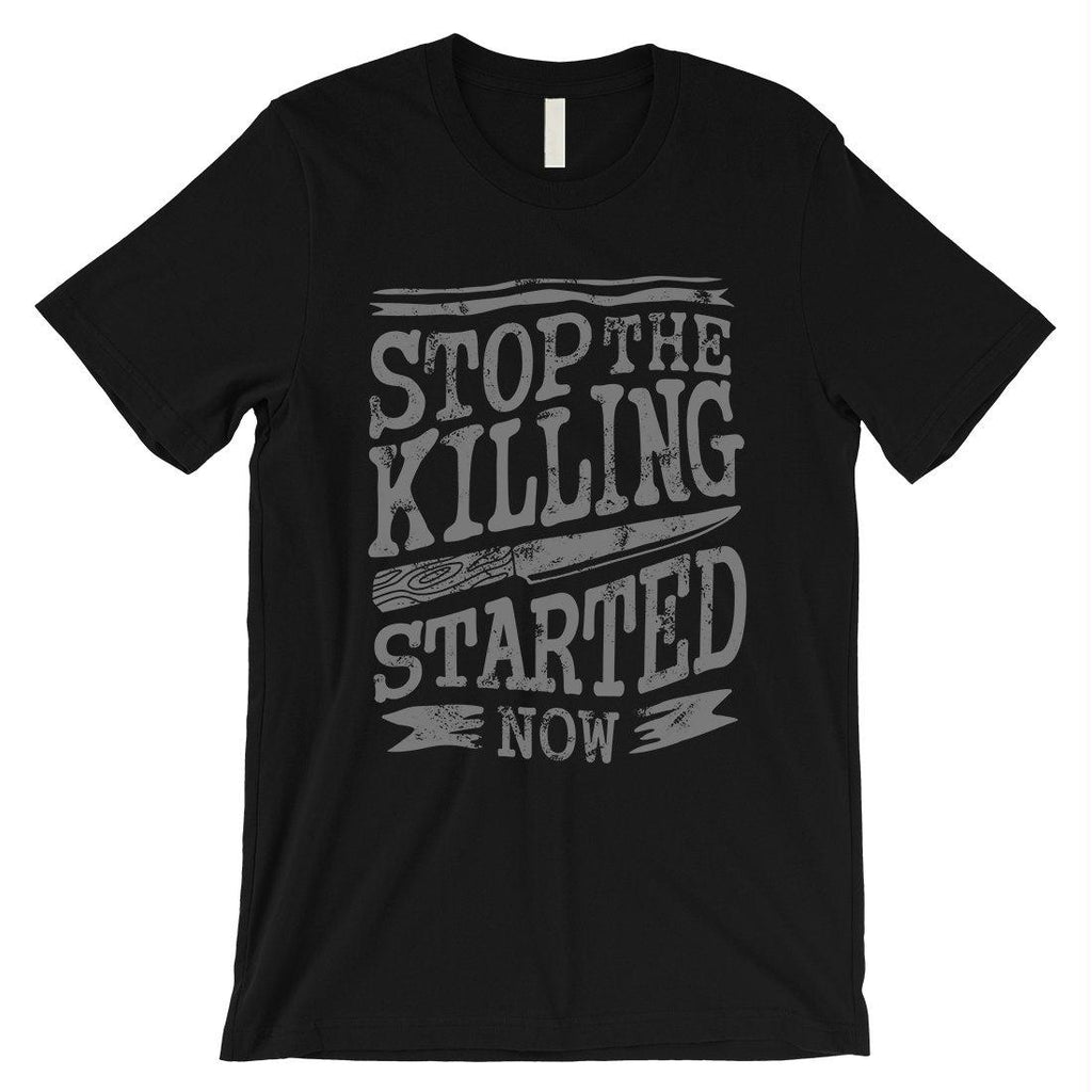 Stop The Killing Mens Vintage Style Typogrpahic T-Shirt