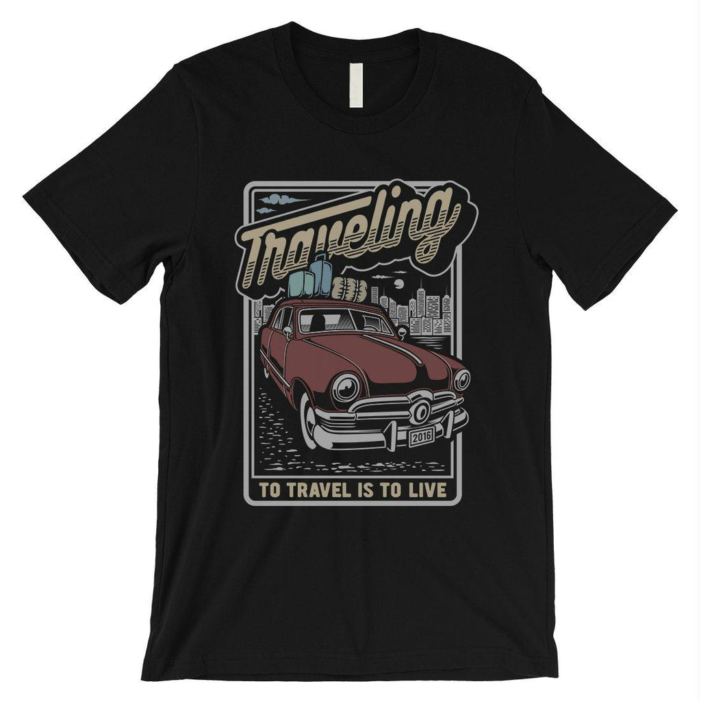 Traveling To Live Mens Unique Retro Style T-Shirt For Travel Lovers