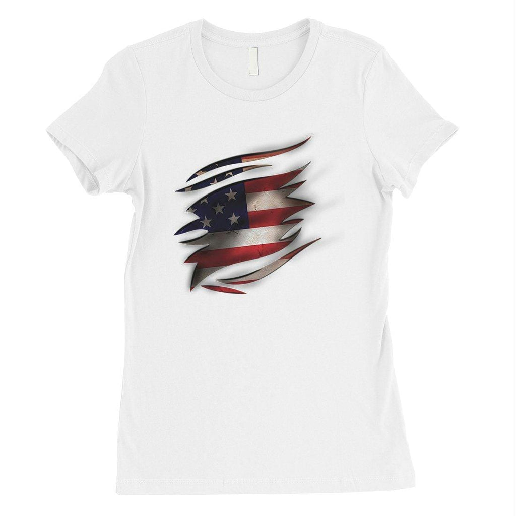 American Flag Ripped Womens T-Shirt Cute 4th of July Shirts For Her