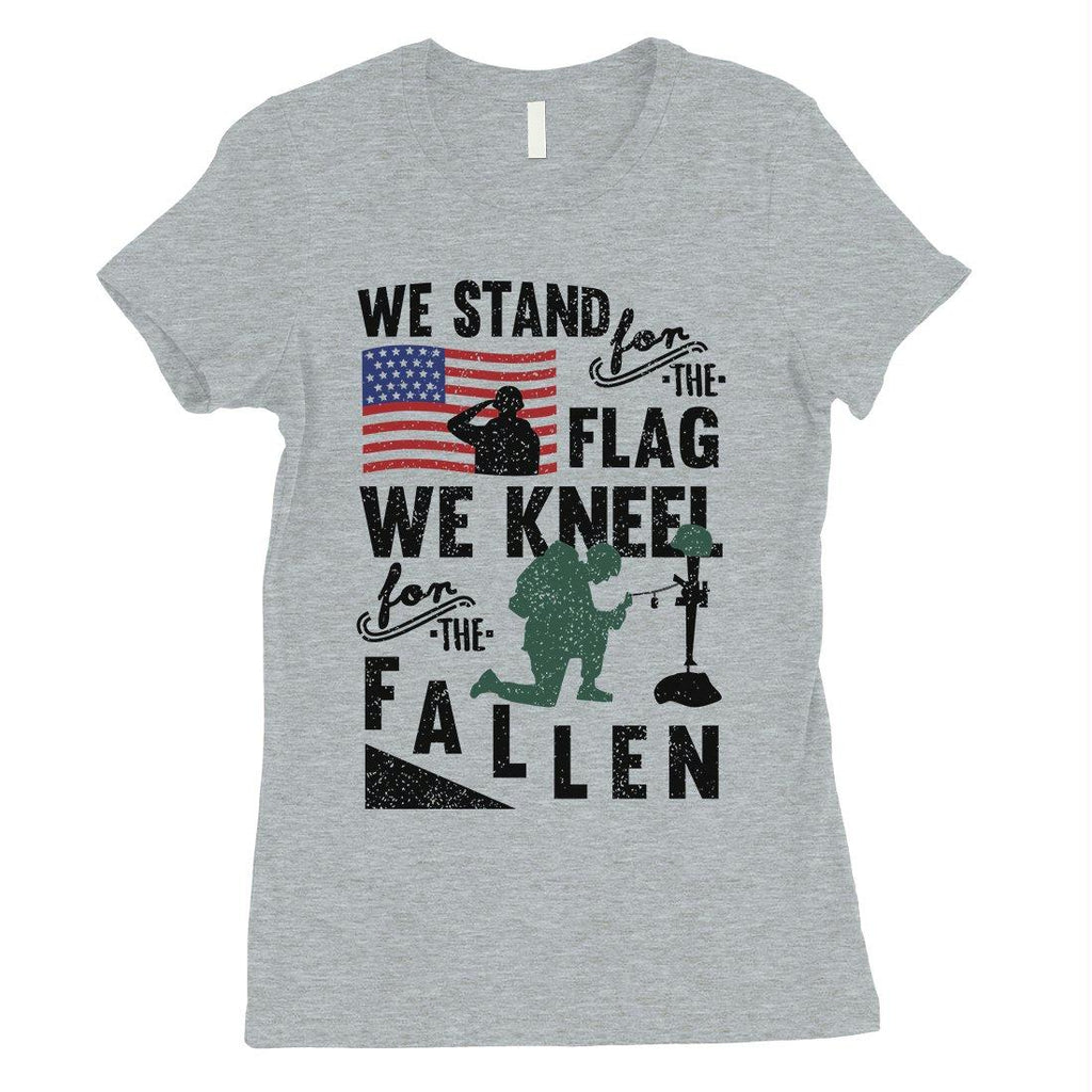 We Stand We Kneel Womens Veterans T-Shirt Cute 4th of July Outfits