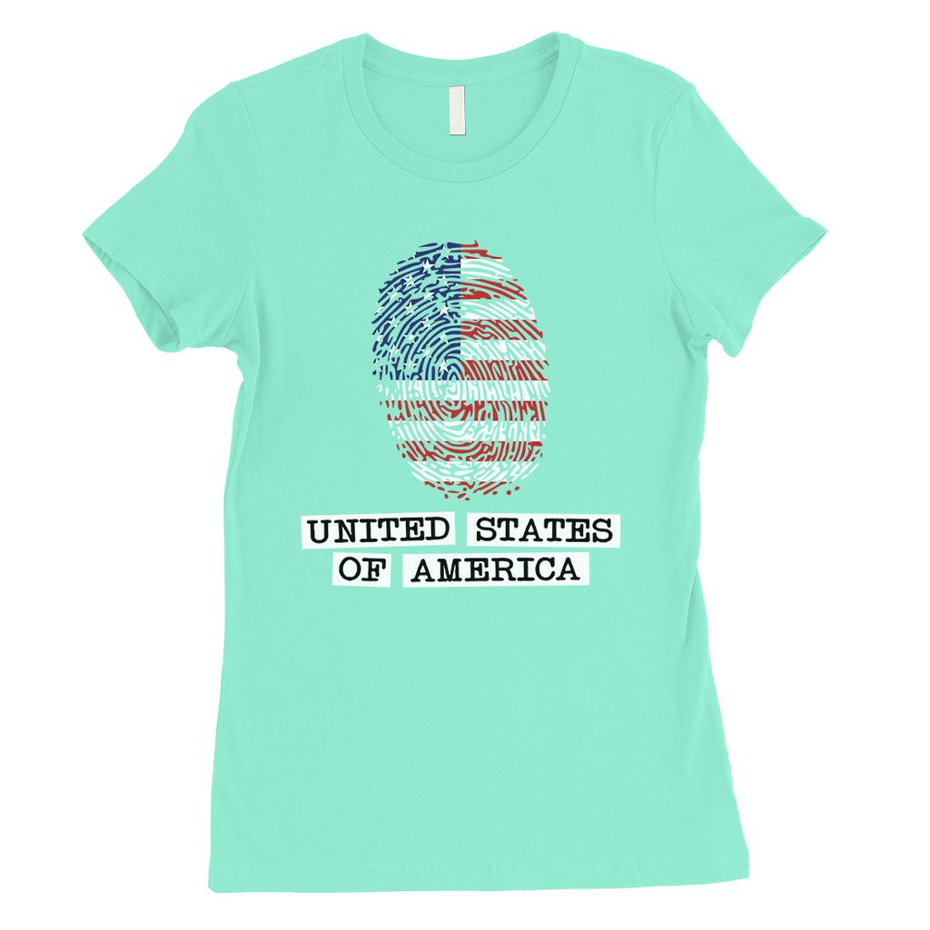 USA Fingerprint Flag Womens Cute Graphic T-Shirt 4th of July Outfit