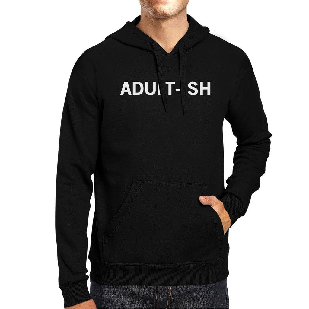 Adult-ish Black Hoodie Pullover Fleece College  Varsity  Gifts Idea
