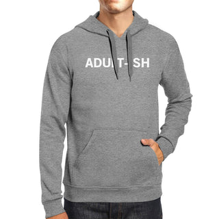 Adult-ish Unisex Heather Grey Hoodie Simple Trendy Typography Top