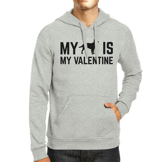 My Dog My Valentine Unisex Grey Hoodie Valentine's Gift Dog Lovers
