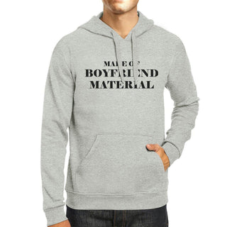 Boyfriend Material Unisex Grey Fleece Hoodie Cute Gift Idea For Him