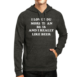 I Love You More Than Beer Dark Grey Cute Hoodie For St Patricks Day